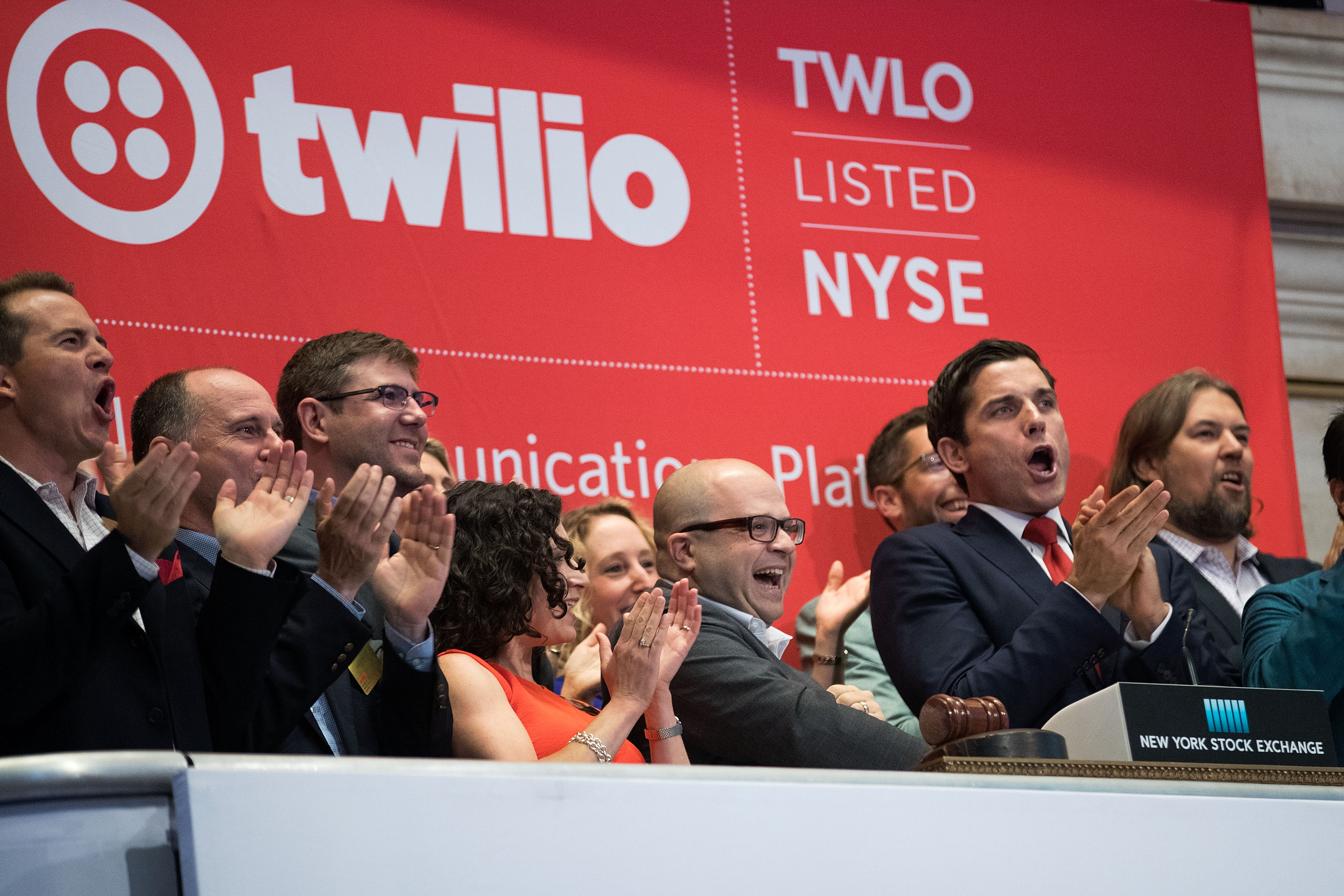 Photo of the Twilio team ringing the opening bell on their IPO day